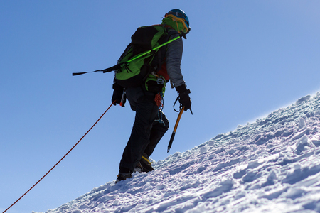 Active hiker enjoying the view. Himalayas. Nepal Фото со стока