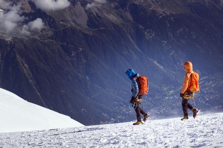 Active hiker enjoying the view. Himalayas. Nepal Stock Photo