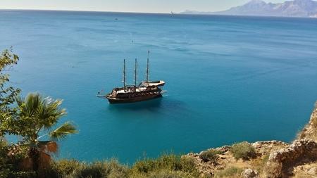 Sail ship at blue see