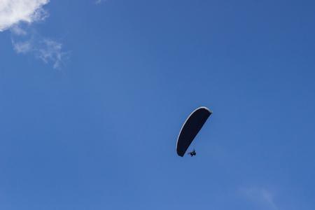 Beautiful landscape with paragliders in Alps, Switzerland. Standard-Bild
