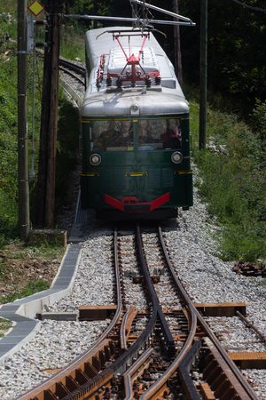 Mountain tram in Alps. France, Chamonix valley. Popular touristic destination.