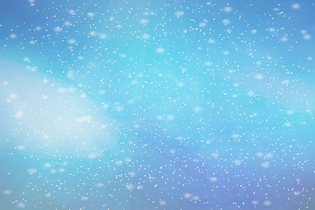 abstract blue bokeh defocused background. Winter with snow. Stock Photo