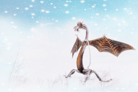 Fairy frost dragon on winter background.