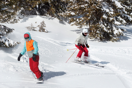 Skiers and snowboarders riding on a ski resort on snowy winter mountain with fir-tree background scenic view. 版權商用圖片
