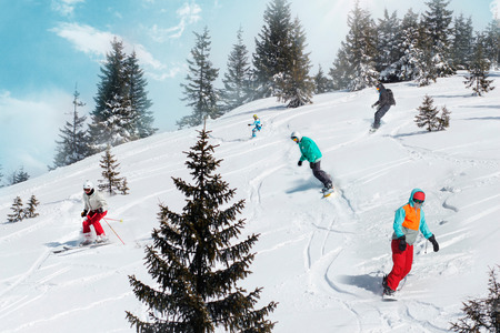 People Snowboard Winter Sport Friendship Concept.