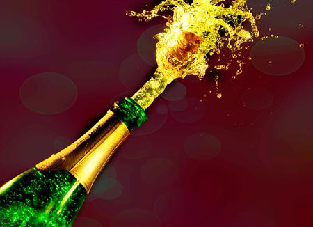 Close-up of champagne explosion. Celebration theme Stock Photo