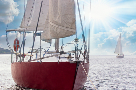 Close up of sailing boat, sail boat or yacht at sea