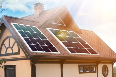 Solar panels installed and in use on roof of home