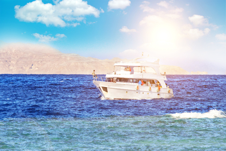 pleasure yacht anchored off the coast of the Egypt