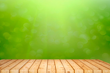 Old wood plank with abstract natural green blurred bokeh background for product display Фото со стока