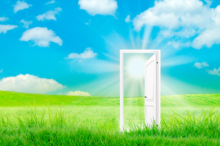 Startup concept open door with bright light sun. Naure green field background. Door of new world Фото со стока