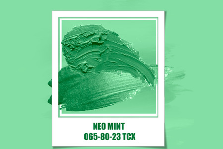 brush and paint texture on paper neo mint. Color of the year 2020. neomint.