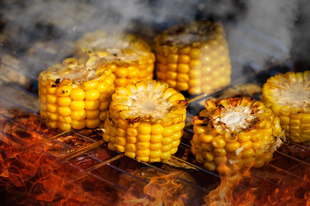 Grilled corn. vegetables grilled corn on the hot stove.