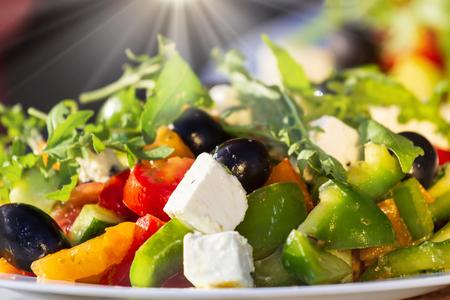 fresh vegetable salad,close-up. Greek salad.
