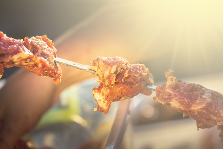 kebab skewers barbecue on smoke at sunny day