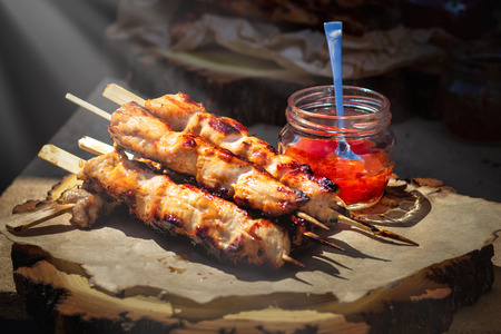 japanese chicken grill Yakitori set with ingredient in dark tone low lighting and dark shadow concept