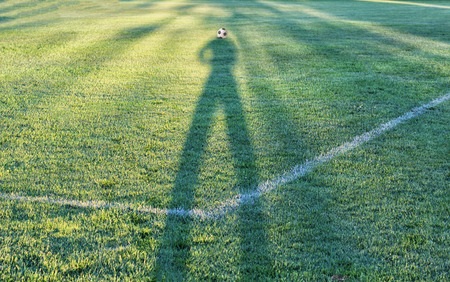 Shadows of football fans on the grass
