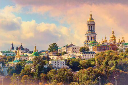 Kiev, Ukraine. Cupolas of Pechersk Lavra Monastery and river Dniepr panoramic city view Banco de Imagens