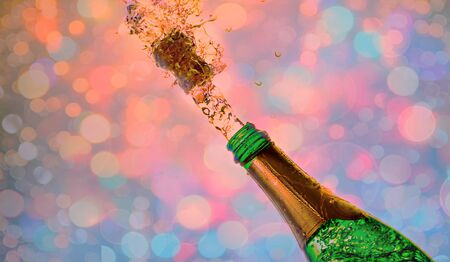 Close-up of champagne explosion.New year party