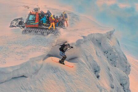 Skier in high mountains. Winter sport