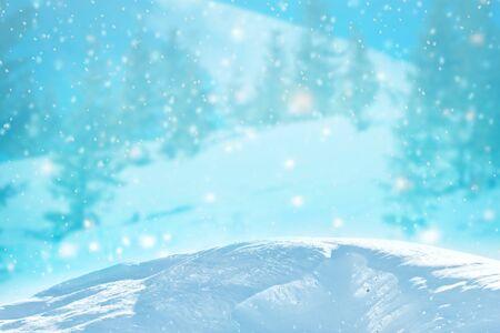 Abstract Winter background abstract bokeh. Snow Banco de Imagens