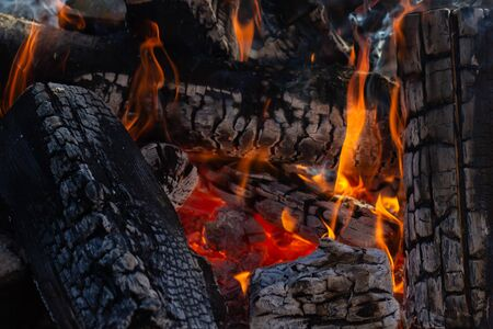 Fire woods and hot coal in a grill 写真素材