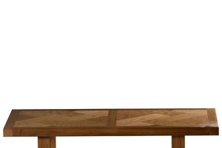 Dark Wooden tabletop on white background. Empty wood table.