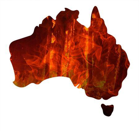 Fire in Australia. Map of Australia burn.