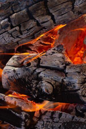 Burning Flames or fire. Burn coals background 写真素材