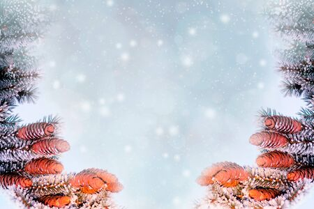 Winter landscape with falling snow. Abstract background 写真素材