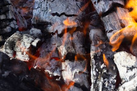 Glowing Hot Charcoal In BBQ Grill Pit With Flames Background Texture, 写真素材