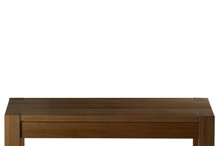 Dark Wooden tabletop on white background. Empty rustic wood table.