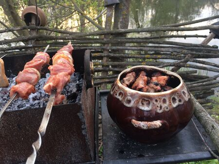 Delicious flavored pork barbecue, threaded on skewers on charcoal. Nature