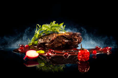 grilled beef steaks with spices Cranberry Sauce