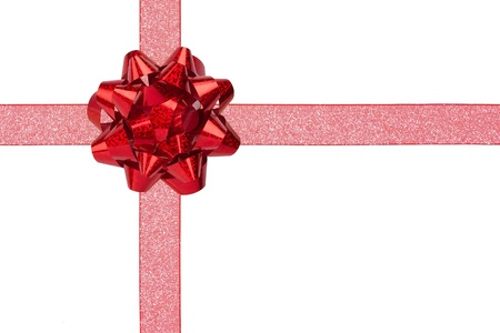 Gift Wrap with Red Sparkly Ribbon and Red Shiny Bow