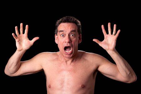 Shirtless Man Screaming photo