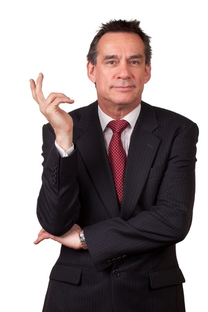 Attractive Smiling Middle Age Business Man in Suit Gesturing with Hand