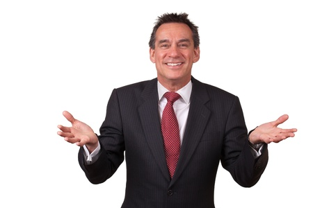 Attractive Smiling Middle Age Business Man in Suit Gesturing with Open Hands Stock Photo