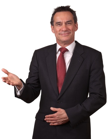 Attractive Middle Age Business Man in Suit Smiling Welcome photo