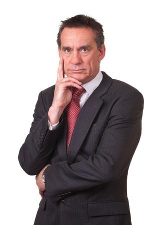 grumpy: Fronsen Angry Middeleeuwen Zaken man in pak Stockfoto