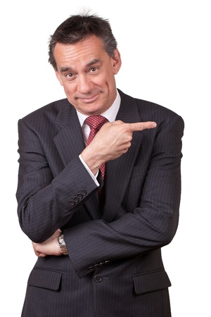 Attractive Smiling Middle Age Business Man in Suit Pointing Right Stock Photo