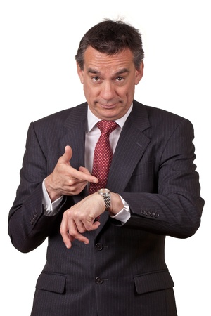 Attractive Middle Age Business Man in Suit Pointing at Watch