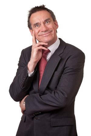 Attractive Business Man in Suit with Silly Grin Stock Photo