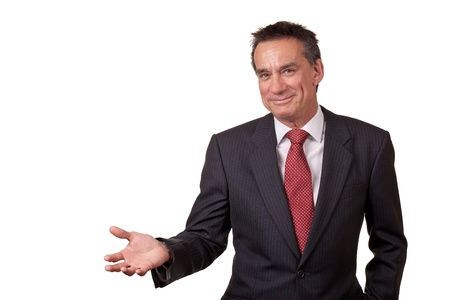 Attractive Smiling Middle Age Business Man Gesturing with Open Hand photo
