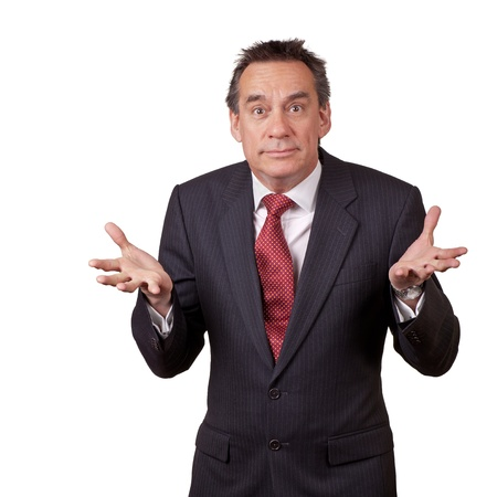 Attractive Wide Eyed Middle Age Business Man in Suit Shrugging photo