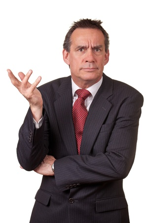 Angry Frowning Business Man Raising Hand in Annoyance photo