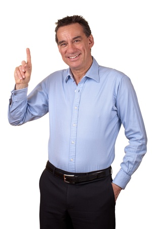 Attractive Smiling Man Pointing Up or Counting One