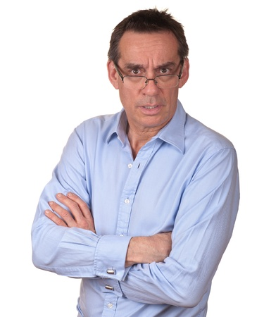 Frowning Surprised Middle Age Man in Blue Shirt Stock Photo