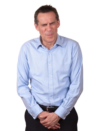 Middle Age Man in Pain Protecting Himself