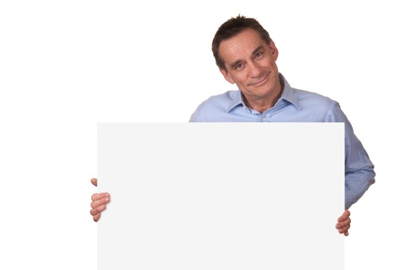holding blank sign: Attractive Man Holding Blank White Sign Stock Photo